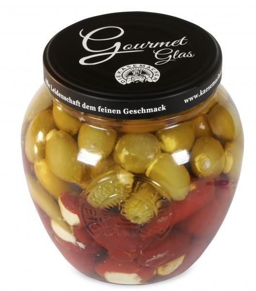 Käsemacher - Gourmet-Glas 1,5kg (Peppersweet, Oliven, Pfefferoni mit Frischkäse)