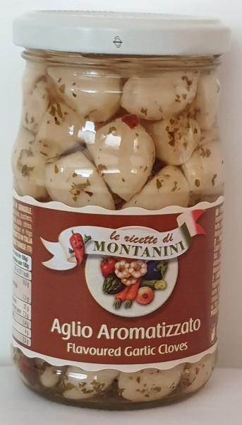 Aglio aromatizzato, ganze Knoblauchzehen in Sonnenblumenöl und Kräutern, Montanini, 280g