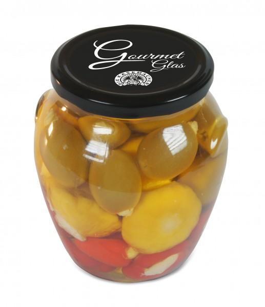 Käsemacher - Gourmet-Glas 650g (Peppersweet, Yellobell und Oliven mit Frischkäse)